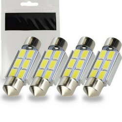 4x Ampoule LED C5W 36mm SMD 6 leds