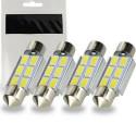 4 x Ampoule LED Canbus C5W 39mm Navette 6 leds Blanc Xenon pour lumière de plafonnier coffre Habitacle