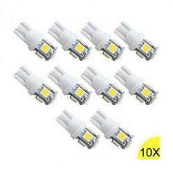 10x Ampoules T10 LED W5W 5 SMD Blanc Xenon 6000k