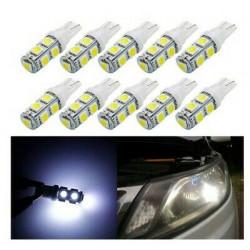 10x Ampoules T10 LED W5W 9 SMD Blanc Xenon 6000k