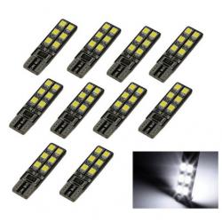 10x Ampoules T10 LED W5W 12 SMD Blanc Xenon 6500k