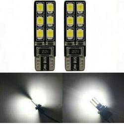 2x Ampoule T10 LED 12 SMD Veilleuses Blanc 6000K