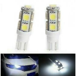 2x Ampoule T10 LED 9 SMD Veilleuse Blanc 6000K