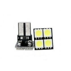2x Ampoule T10 LED 4 SMD Veilleuses Blanc 6000K