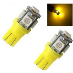 2x Ampoule W5W LED T10 Jaune Veilleuse 5 smd