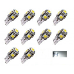 10x Ampoule LED T10 24V Canbus 5 SMD W5W Blanc 6000K