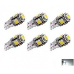 6x Ampoule T10 LED 5 SMD Veilleuses canbus 24V