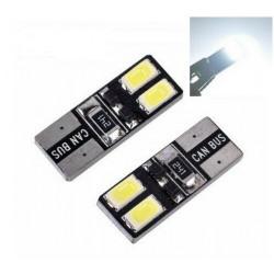 2x T10 LED 4 SMD Veilleuses Blanc 6000K
