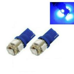 2x Ampoule W5W LED T10 Bleu Veilleuse 5 smd