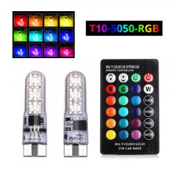 2X AMPOULES 6 Leds T10 W5W MULTI RGB