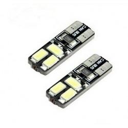 2x T10 LED 6 SMD Veilleuses Blanc 6000K
