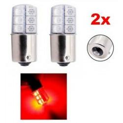 2x Ampoule BA15S LED P21W Rouge 12 SMD