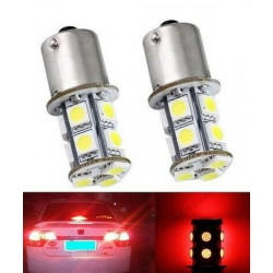 2x Ampoule BA15S LED P21W 13 SMD Rouge feux arrière