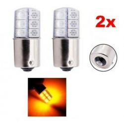 2x Ampoule BA15S LED P21W 12 SMD Orange Gel