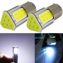 2x Ampoule BA15S LED 1156 P21W COB Blanc Voiture Feux de Jour
