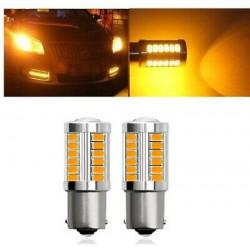 2x Ampoules BA15S LED P21W Orange 33 smd