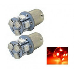 Ampoule BA15S LED P21W 8 SMD Rouge