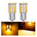 Ampoules LED BAU15S ORANGE 1156 PY21W COB Clignotants Repetiteurs