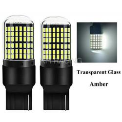 Ampoules LED T20 W21W 144 SMD sans erreur Verre Blanc feux de jour