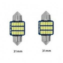 Ampoules 31mm Navette 21 LED Blanc Xenon 6500K Canbus