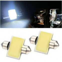 Ampoules LED 31mm COB Blanches Veilleuses 12V