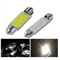 Ampoules LED 36mm COB Blanches Veilleuses 12V