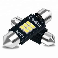 Ampoules LED 36mm Navettes Canbus 6 SMD Blanc 6500k 12V/24V