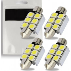 4x Ampoules C5W 36mm 6 LED Canbus SMD Blanc 6500K