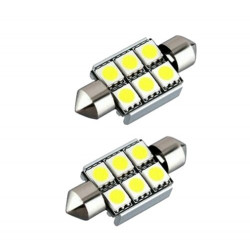 2x Ampoules C5W 36mm 6 LED Canbus SMD Blanc 6500K