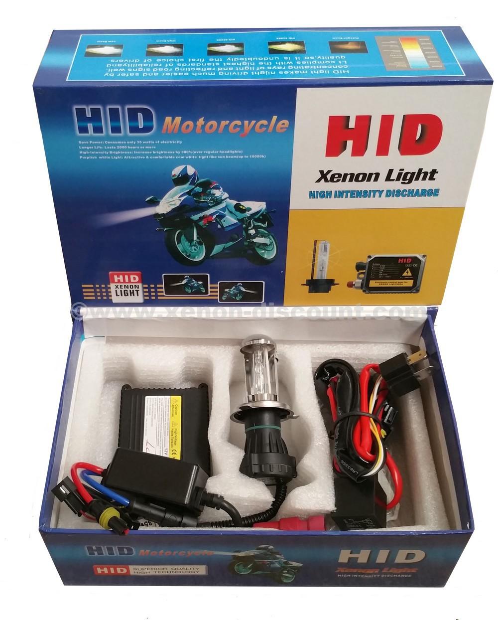 Kit Bi-xénon moto H4 10000K 55W avec Rallonge