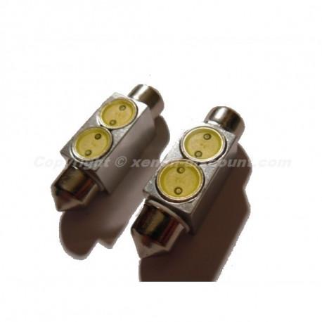 Navette Ampoule à LED C5W 36mm 2 leds Flux Extra Blanc