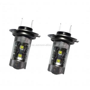 2 ampoules Cree H7 50W avec Loupe