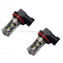 2 ampoules Cree H11 50W avec Loupe Blanc Pur