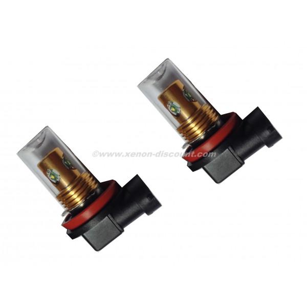 2 ampoules Cree H11 20W avec Verre Blanc Pur