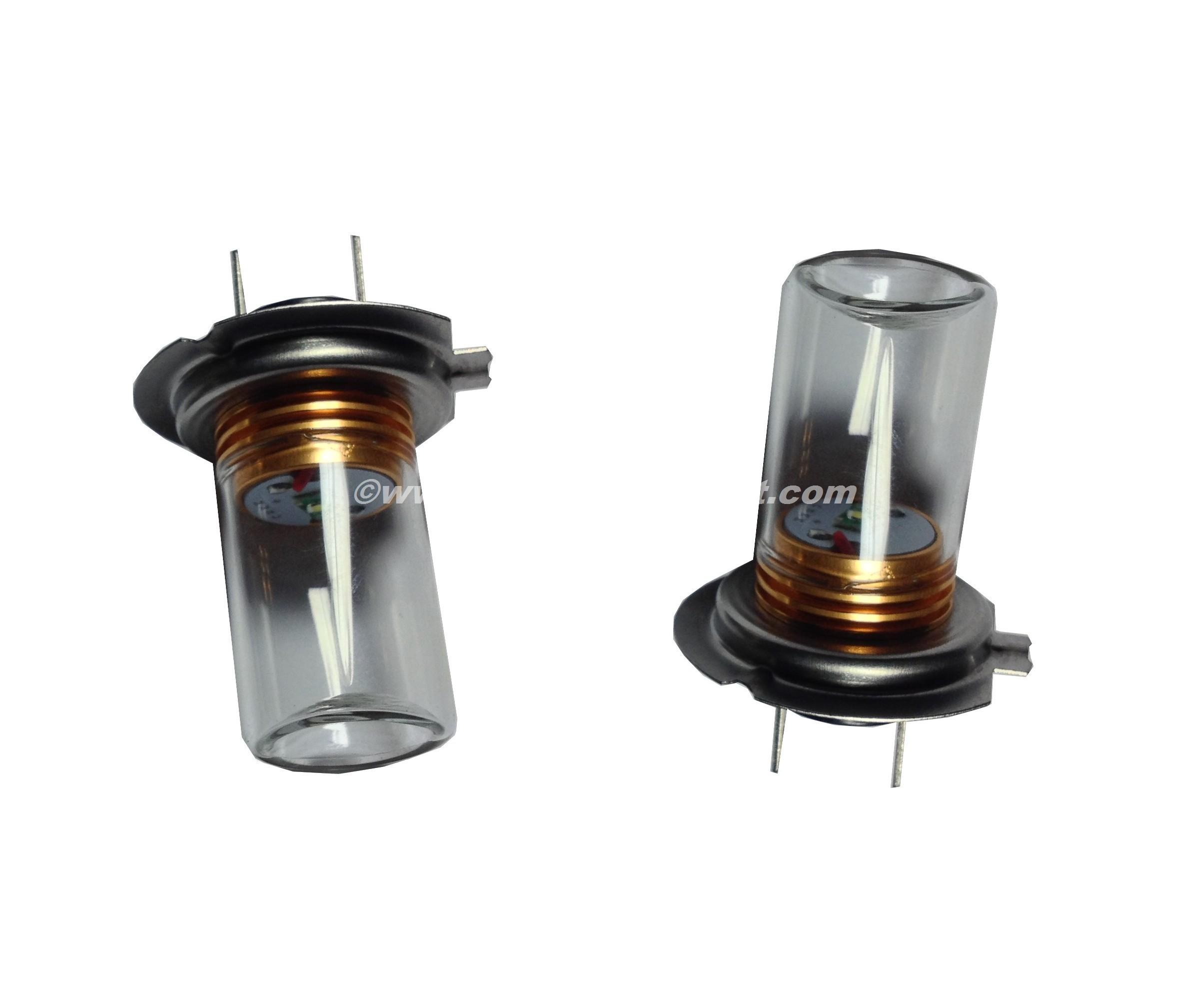 2 ampoules Cree H7 5W avec Verre Blanc Pur - Xenon Discount