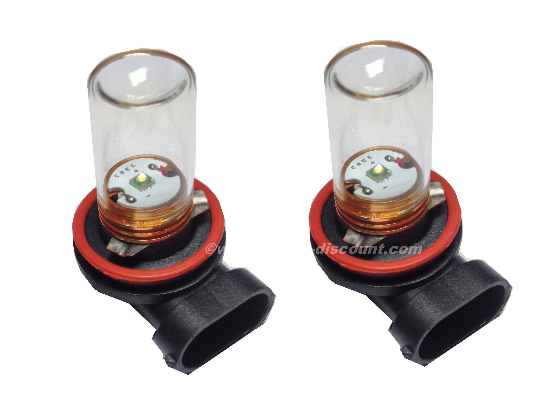 2 ampoules Cree H11 5W avec Verre Blanc Pur - Xenon Discount
