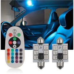 2X NAVETTES 12-LEDS RGB C3W C5W C7W C10W